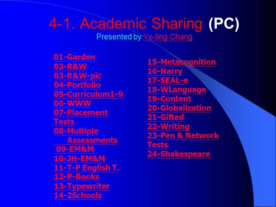 4-1. Academic Sharing (PC) Presented by Ye-ling ChangYe-ling Chang 01-Garden 02-R&W 03-R&W-pic 04-Portfolio 05-Curriculum1-9 06-WWW 07-Placement Tests