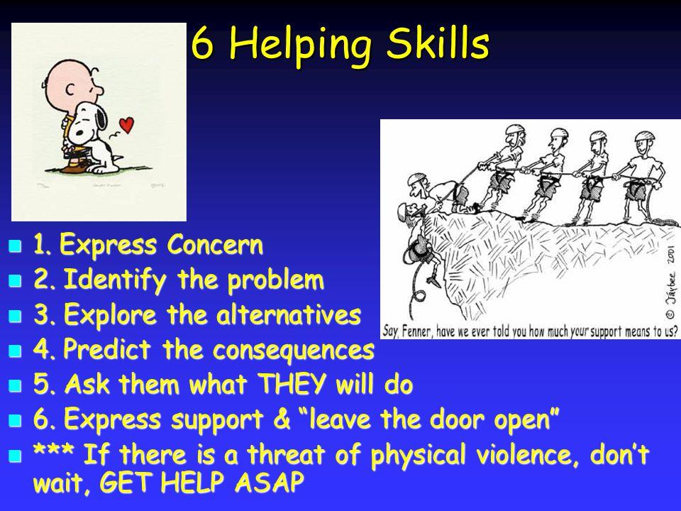 6 Helping Skills 1. Express Concern 1. Express Concern 2.