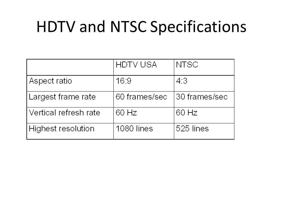 HDTV and NTSC Specifications