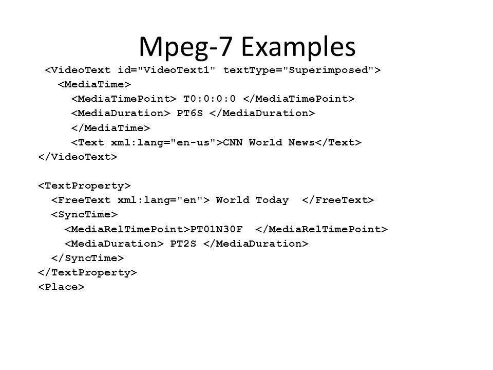 Mpeg-7 Examples T0:0:0:0 PT6S CNN World News World Today PT01N30F PT2S
