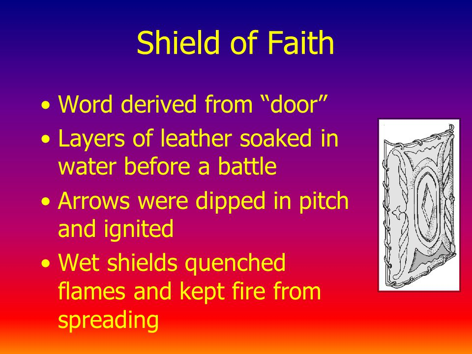 Shield of Faith Word derived from door Layers of leather soaked in water before a battle Arrows were dipped in pitch and ignited Wet shields quenched flames and kept fire from spreading