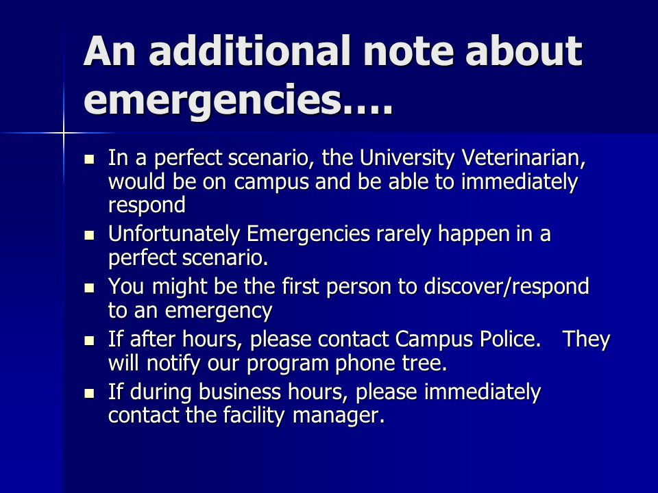 The below all assume a non- emergency entry Only enter via the Passenger elevators.