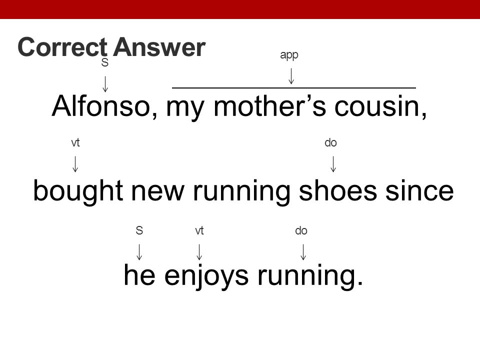 Alfonso, my mothers cousin, bought new running shoes since he enjoys running. Correct Answer vt S do app Svtdo