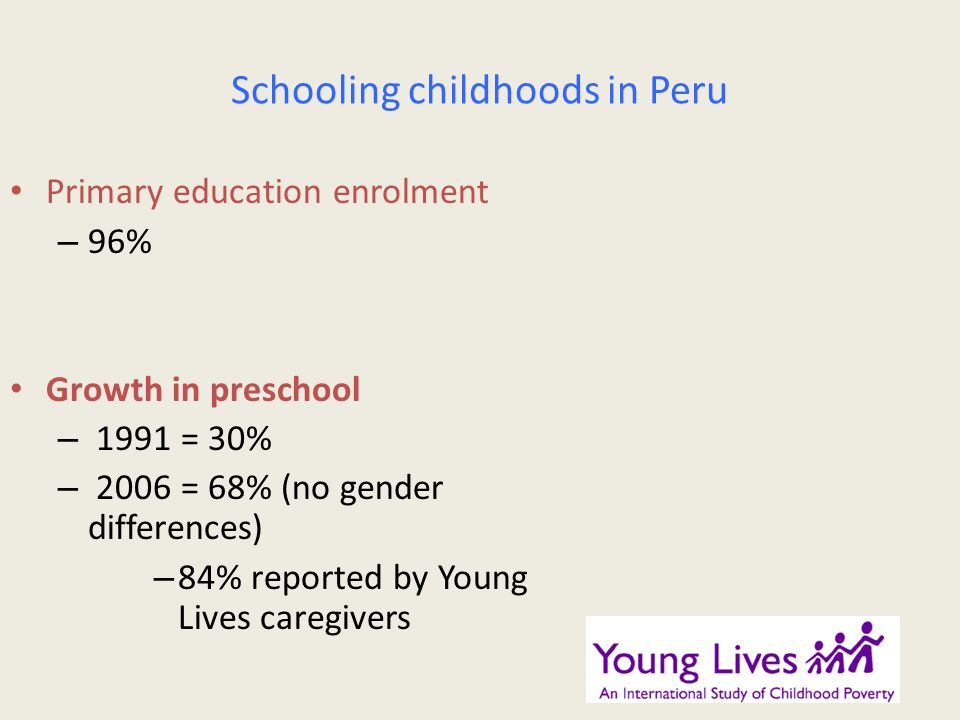 Schooling childhoods in Peru Primary education enrolment – 96% Growth in preschool – 1991 = 30% – 2006 = 68% (no gender differences) – 84% reported by Young Lives caregivers