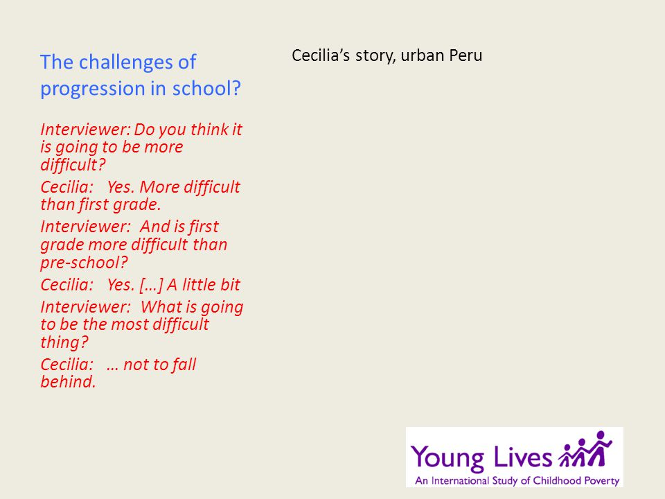 The challenges of progression in school.