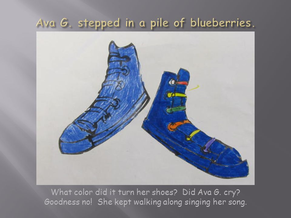 What color did it turn her shoes. Did Ava G. cry.