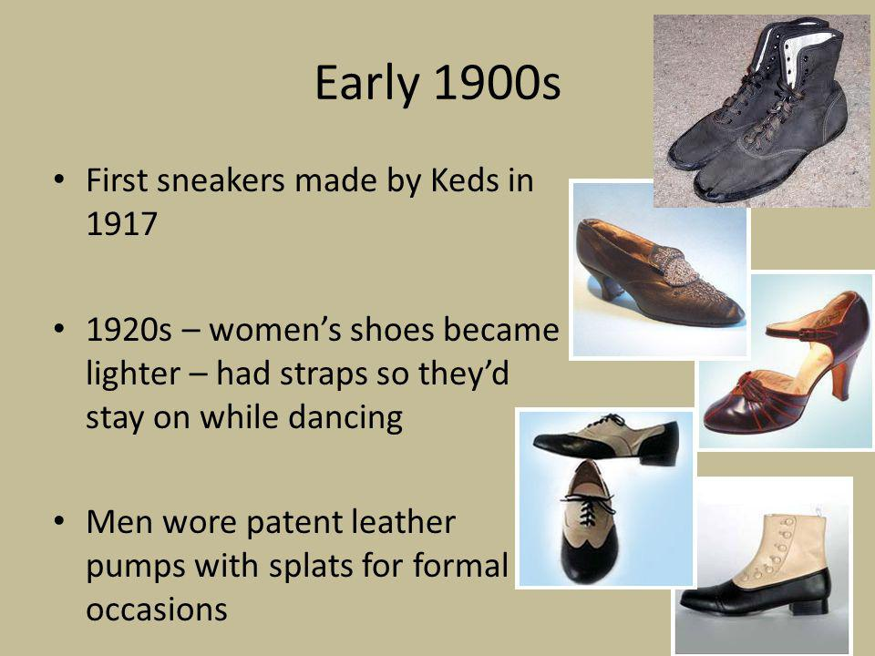 Mid 1900s 1930s – sandals reemerge due to popularity of outdoor activities.