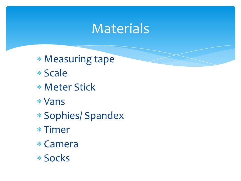 Measuring tape Scale Meter Stick Vans Sophies/ Spandex Timer Camera Socks Materials