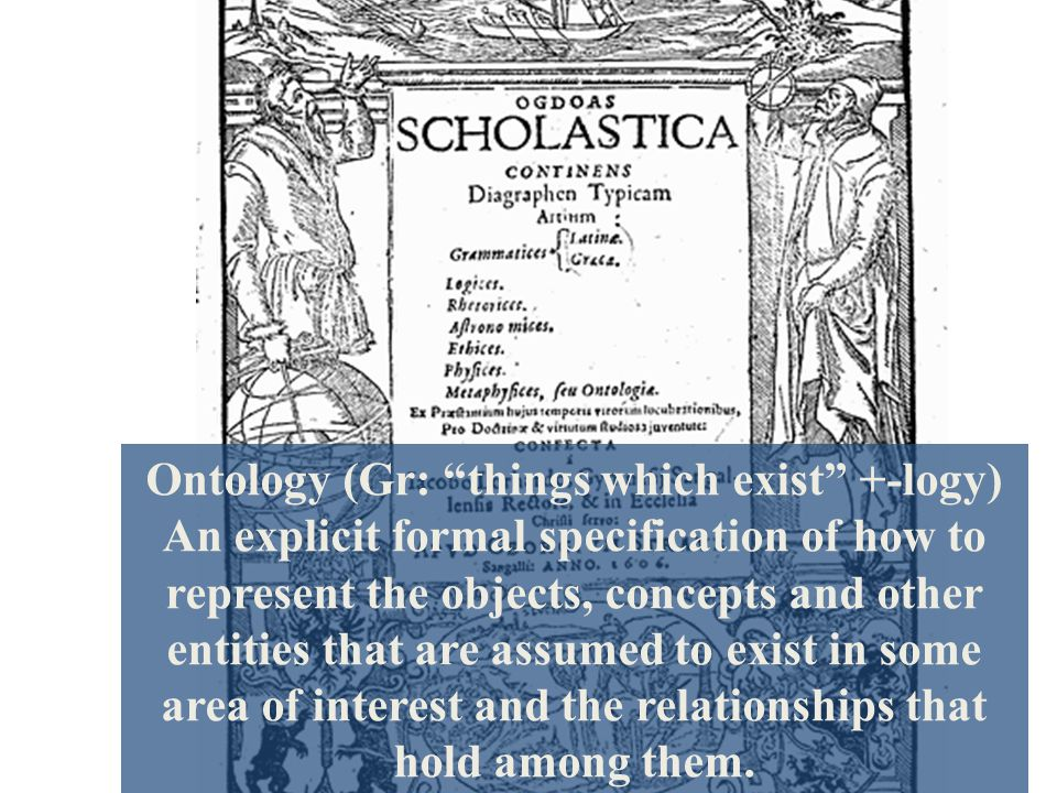 Ontology (Gr: things which exist +-logy) An explicit formal specification of how to represent the objects, concepts and other entities that are assumed to exist in some area of interest and the relationships that hold among them.