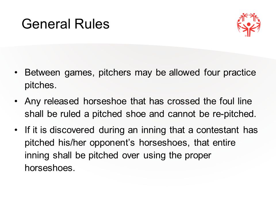 Any shoe pitched by a contestant, that lands outside the fair area of the opposite pitching box is a foul shoe.