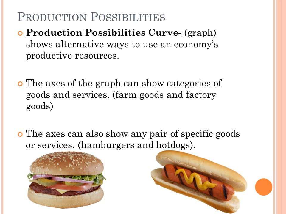 P RODUCTION P OSSIBILITIES Production Possibilities Curve- (graph) shows alternative ways to use an economys productive resources.