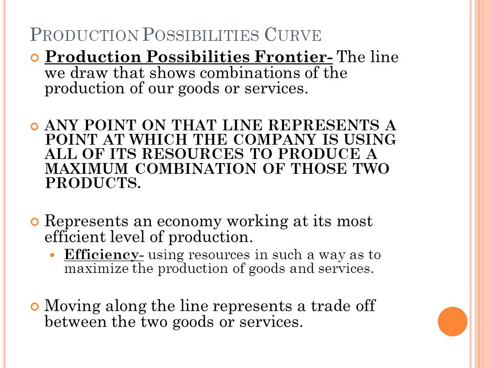 P RODUCTION P OSSIBILITIES C URVE Production Possibilities Frontier- The line we draw that shows combinations of the production of our goods or services.