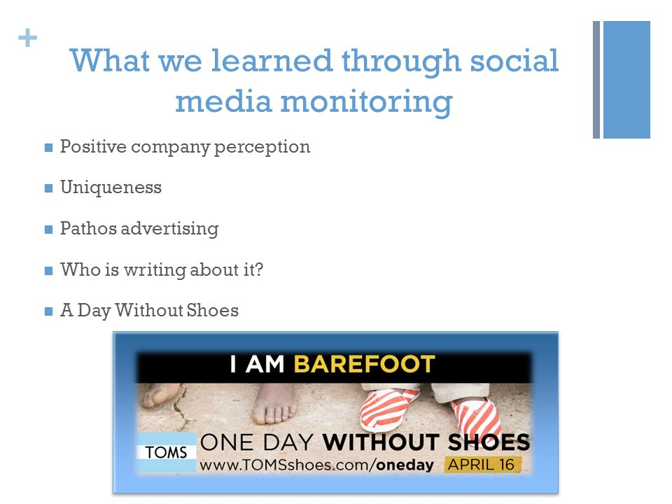 + What we learned through social media monitoring Positive company perception Uniqueness Pathos advertising Who is writing about it? A Day Without Sho