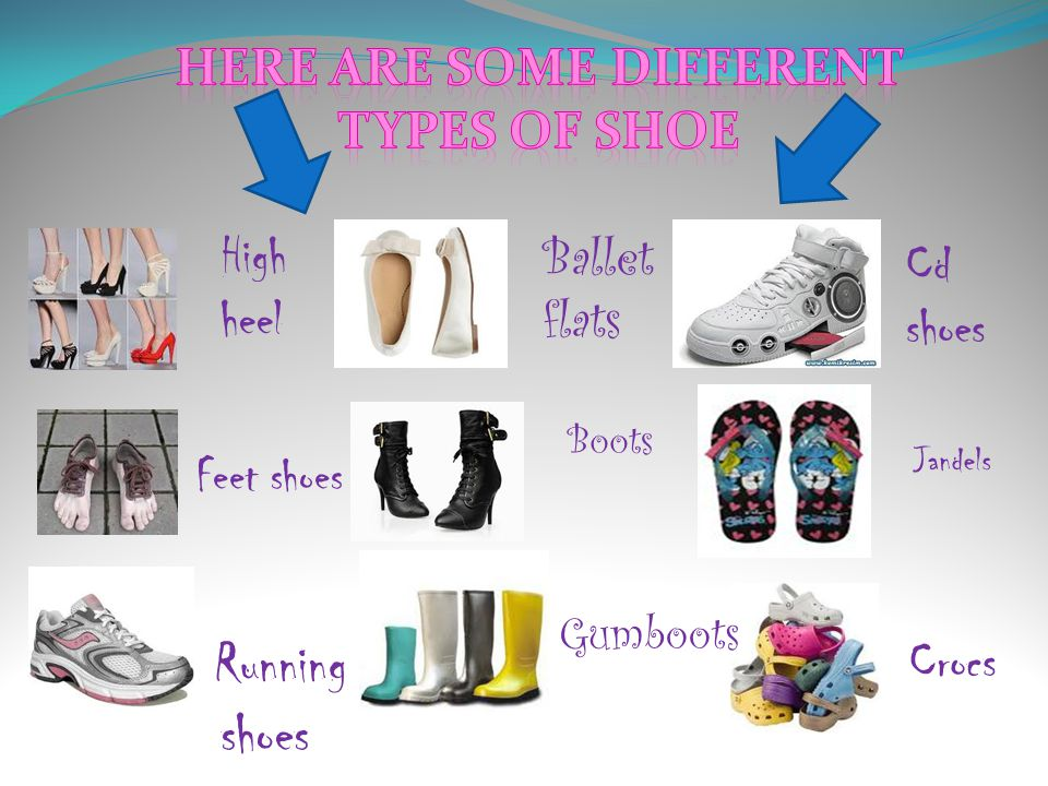 High heel Ballet flats Cd shoes Crocs Gumboots Running shoes Feet shoes Boots Jandels