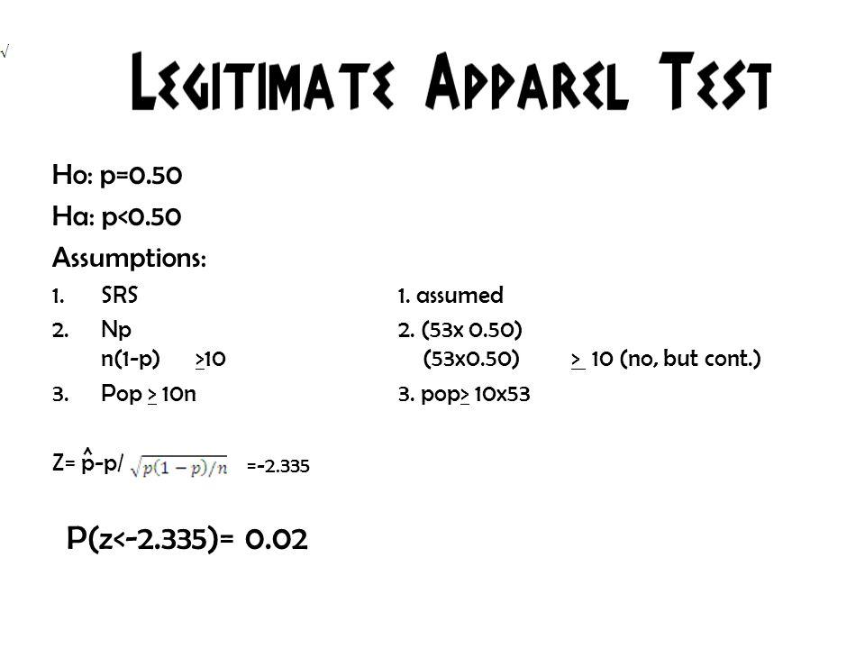 Ho: p=0.50 Ha: p<0.50 Assumptions: 1.SRS1. assumed 2.Np2.