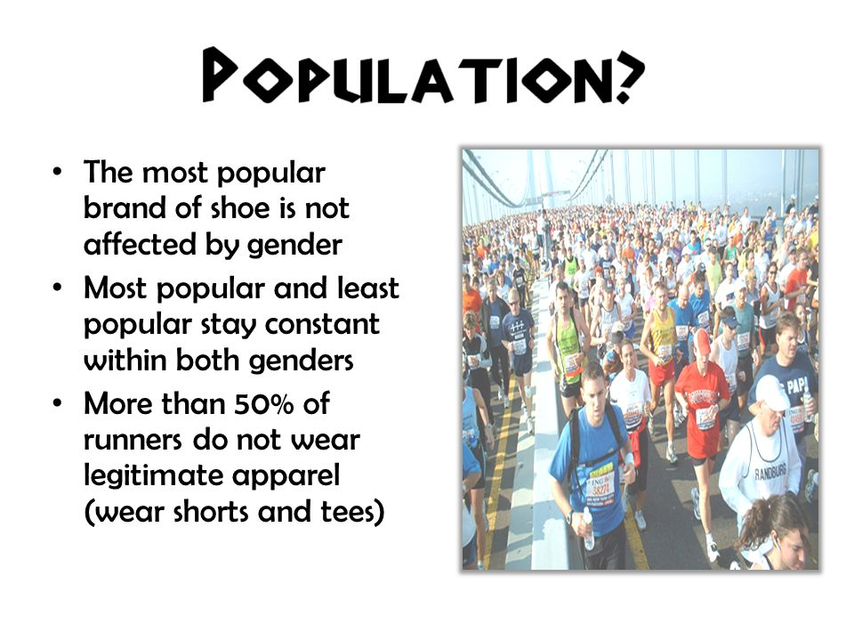 The most popular brand of shoe is not affected by gender Most popular and least popular stay constant within both genders More than 50% of runners do not wear legitimate apparel (wear shorts and tees)