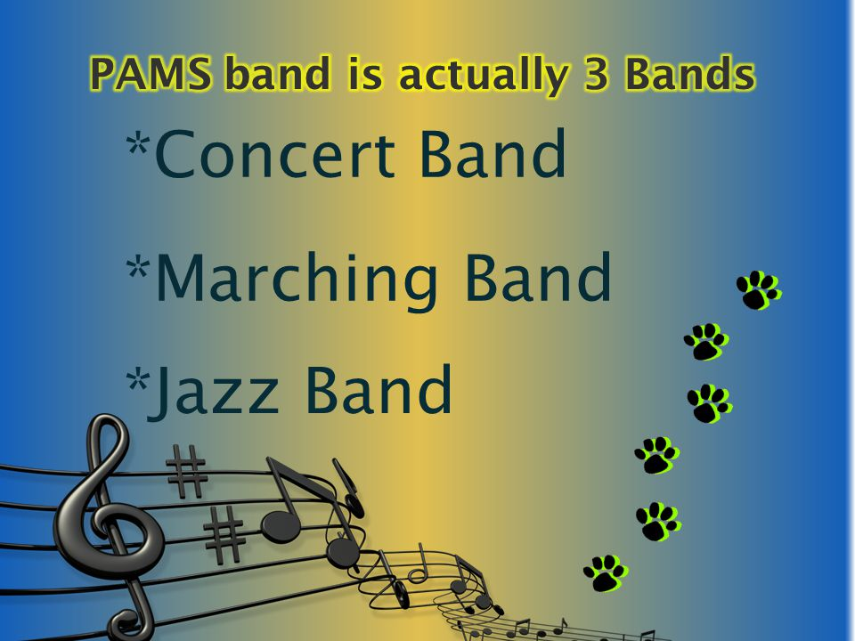 All band students must be members of the Concert Band Minimum after school practices (approximately 2 per year the day before the concert) 2 mandatory performances Winter Concert Spring Concert Concert Band Attire Male black dress pants, white long sleeve button down shirt (Tux Shirt), and black dress shoes (no sneakers) Female Black dress pants or knee length skirt, white long sleeve button down collar shirt (Tux Shirt), black dress shoes (no open toe shoes) Concert Band Fees $35 (includes Blue band t-shirt and music)* Returning band members fee $25 unless a new shirt is needed*
