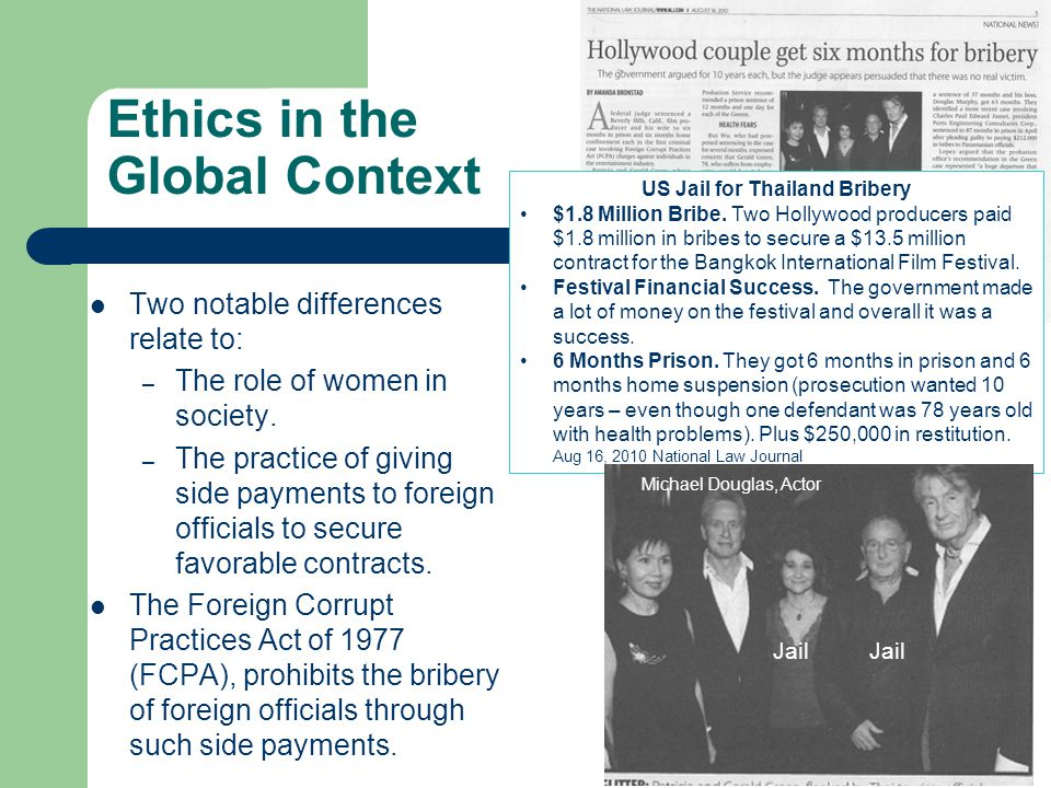 Ethics in the Global Context Two notable differences relate to: – The role of women in society. – The practice of giving side payments to foreign offi