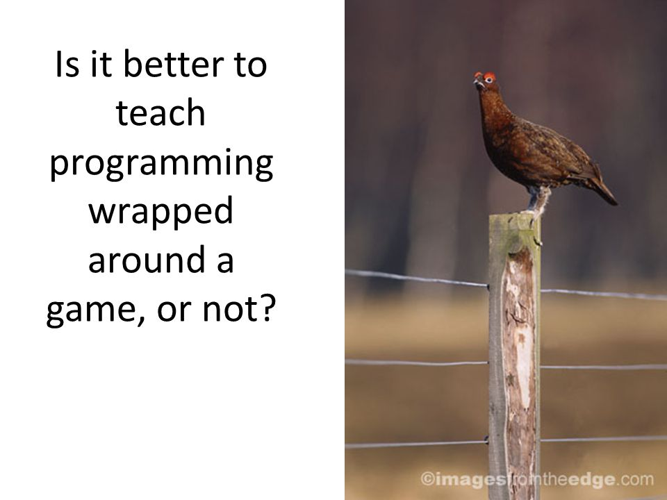 Is it better to teach programming wrapped around a game, or not