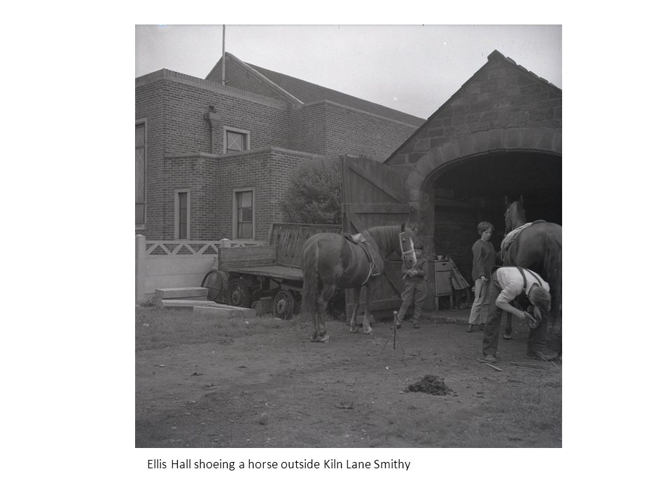 Ellis Hall shoeing a horse outside Kiln Lane Smithy