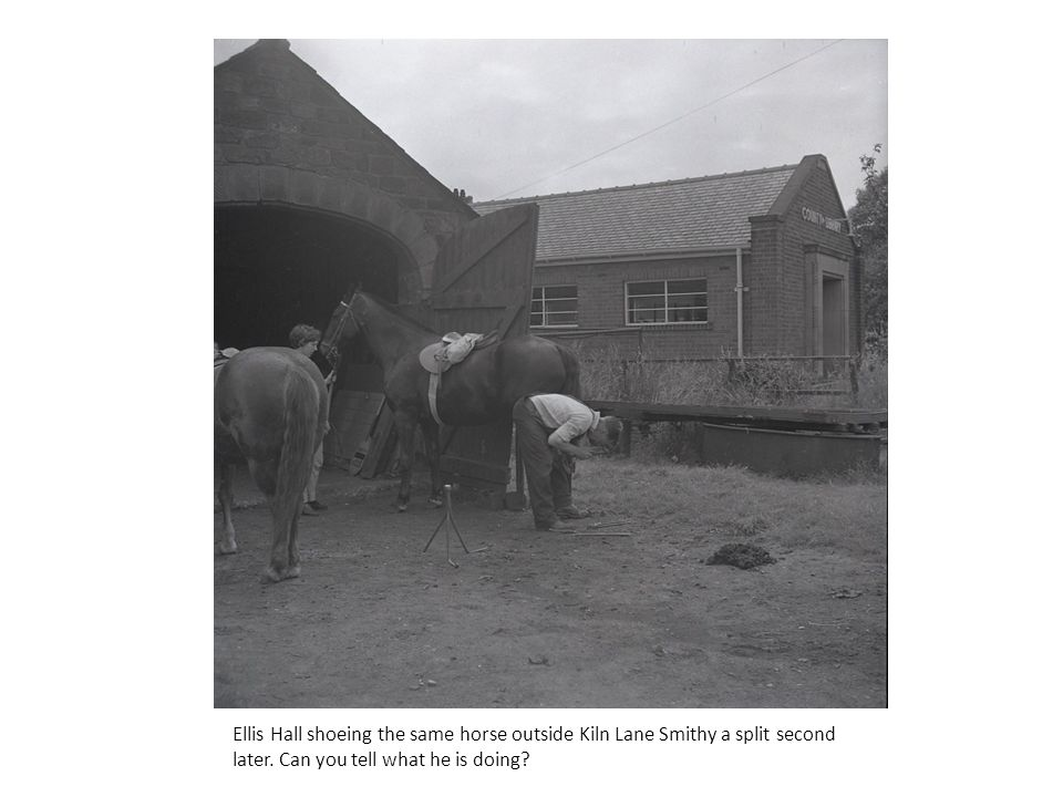 Ellis Hall shoeing the same horse outside Kiln Lane Smithy a split second later.