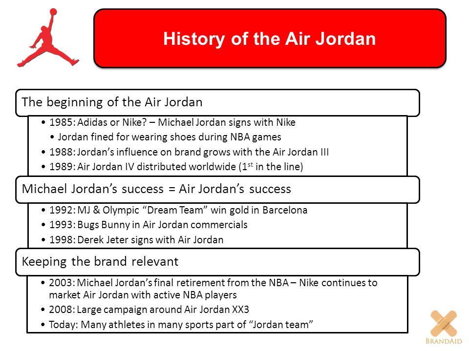 History of the Air Jordan The beginning of the Air Jordan 1985: Adidas or Nike? – Michael Jordan signs with Nike Jordan fined for wearing shoes during