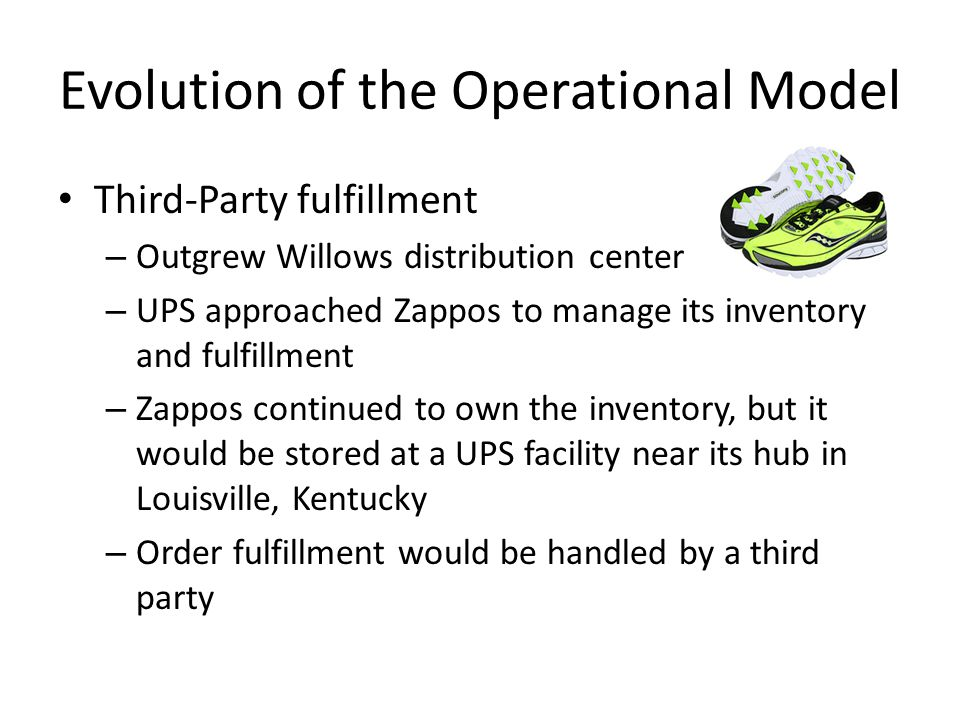 Evolution of the Operational Model Third-Party fulfillment – Outgrew Willows distribution center – UPS approached Zappos to manage its inventory and f
