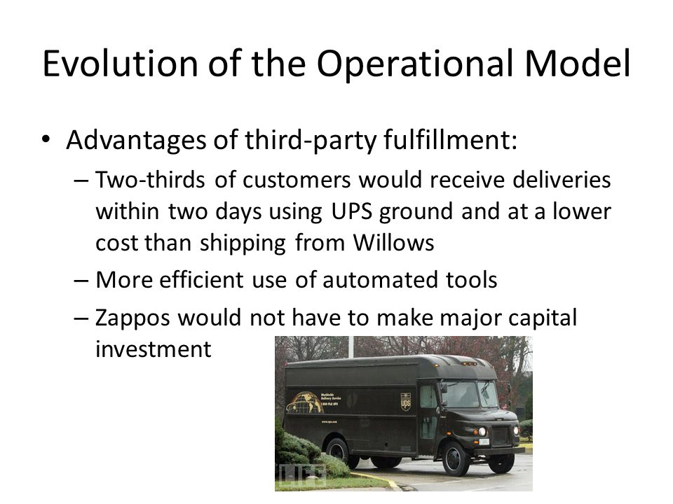Evolution of the Operational Model Advantages of third-party fulfillment: – Two-thirds of customers would receive deliveries within two days using UPS