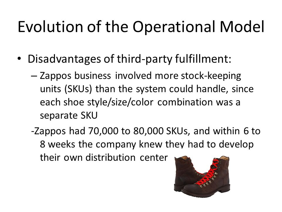 Evolution of the Operational Model Disadvantages of third-party fulfillment: – Zappos business involved more stock-keeping units (SKUs) than the syste