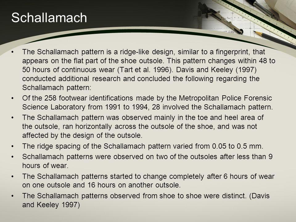 Schallamach The Schallamach pattern is a ridge-like design, similar to a fingerprint, that appears on the flat part of the shoe outsole. This pattern