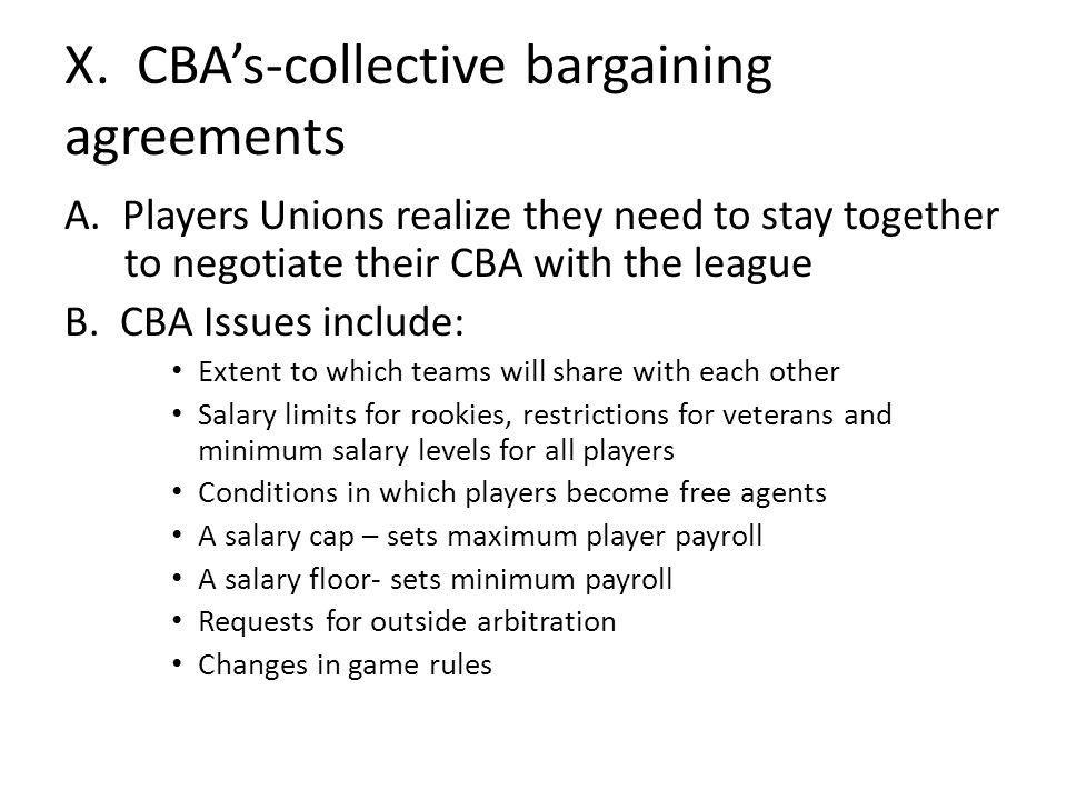 X. CBAs-collective bargaining agreements A.