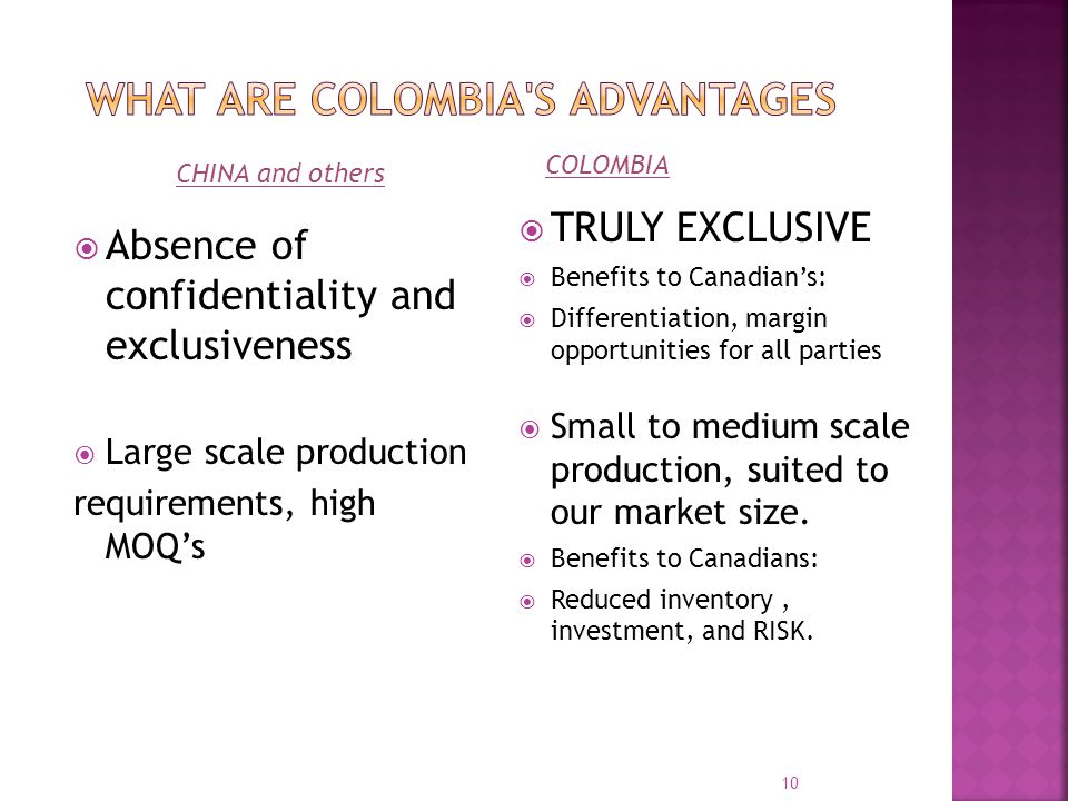 Absence of confidentiality and exclusiveness Large scale production requirements, high MOQs TRULY EXCLUSIVE Benefits to Canadians: Differentiation, margin opportunities for all parties Small to medium scale production, suited to our market size.