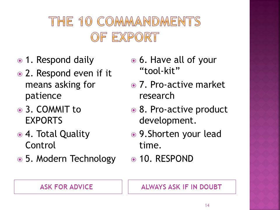 ASK FOR ADVICEALWAYS ASK IF IN DOUBT 1. Respond daily 2. Respond even if it means asking for patience 3. COMMIT to EXPORTS 4. Total Quality Control 5.