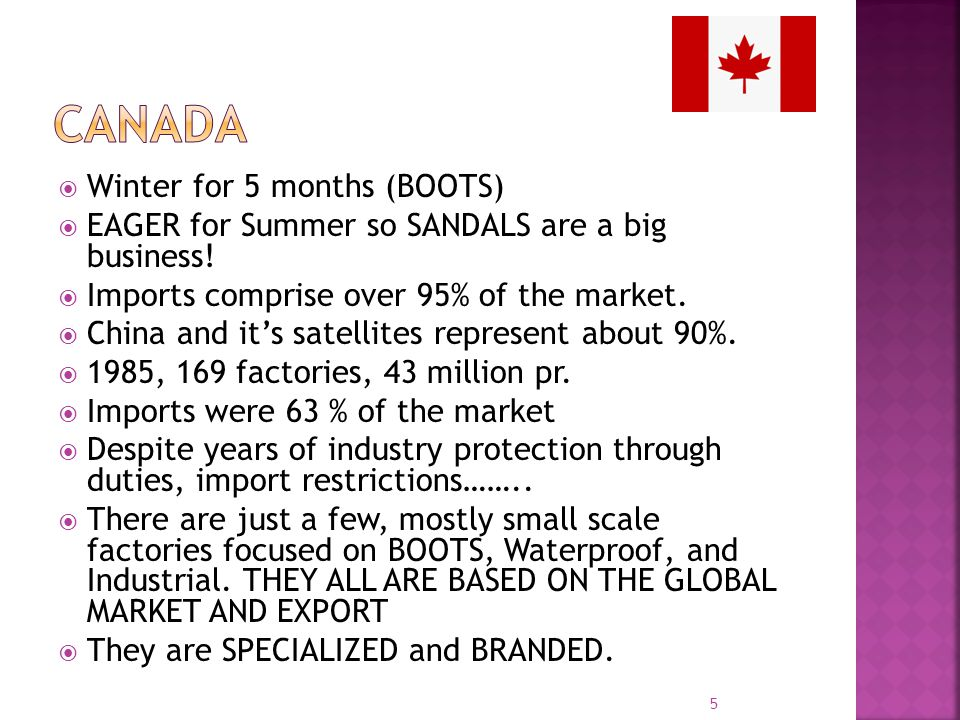 Winter for 5 months (BOOTS) EAGER for Summer so SANDALS are a big business! Imports comprise over 95% of the market. China and its satellites represen