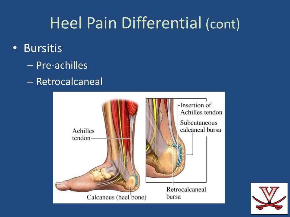 Heel Pain Differential (cont) Bursitis – Pre-achilles – Retrocalcaneal