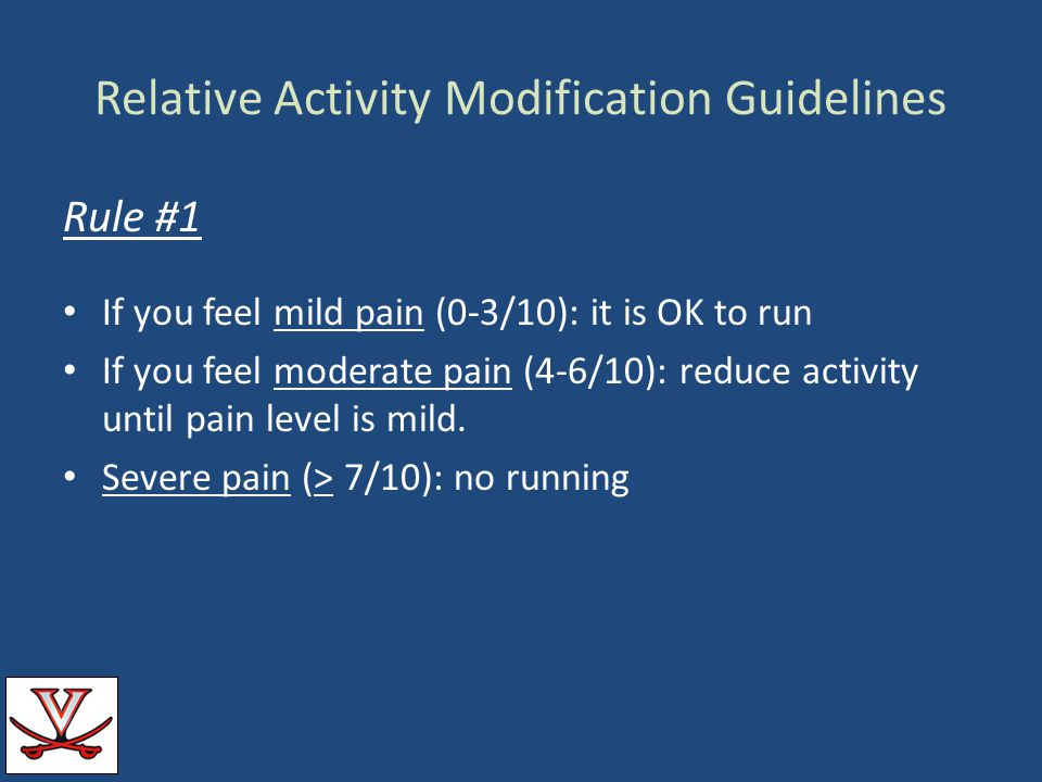 Relative Activity Modification Guidelines Rule #1 If you feel mild pain (0-3/10): it is OK to run If you feel moderate pain (4-6/10): reduce activity