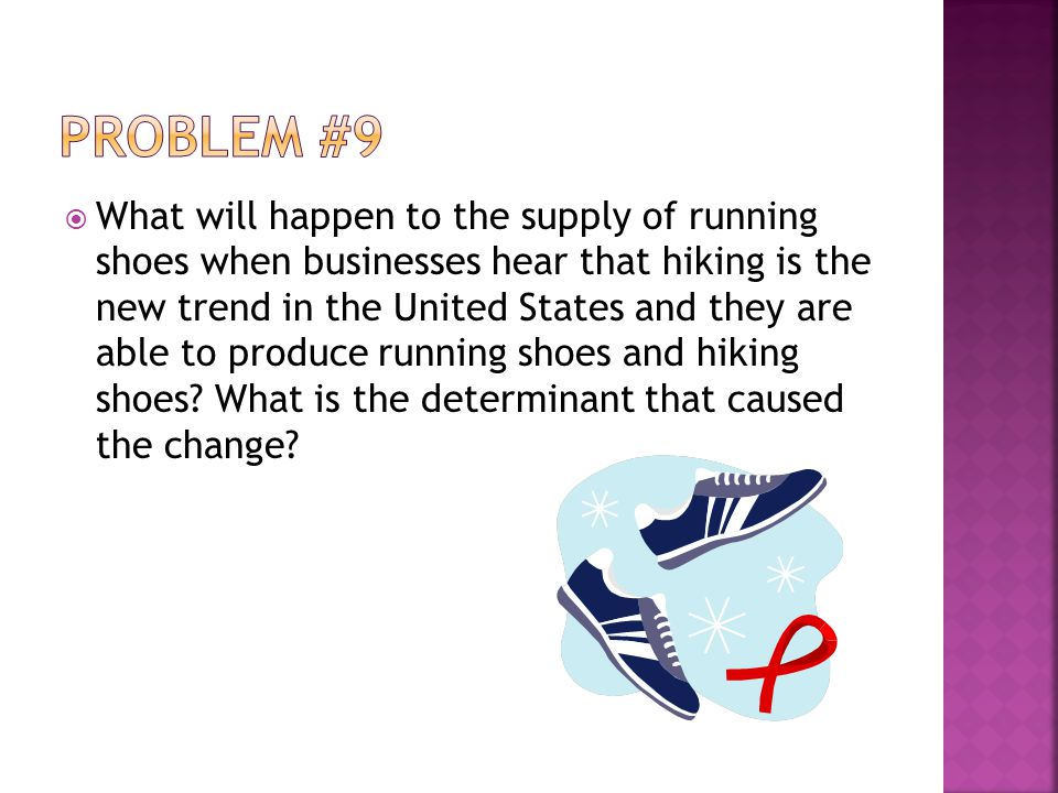 What will happen to the supply of running shoes when businesses hear that hiking is the new trend in the United States and they are able to produce running shoes and hiking shoes.