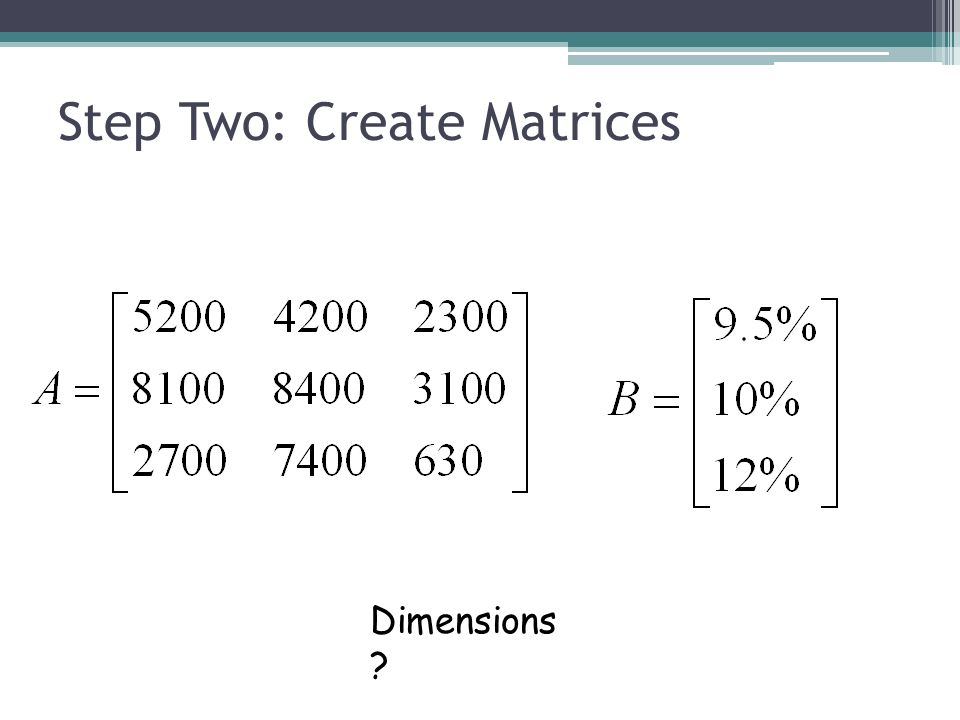 Step Two: Create Matrices Dimensions ?