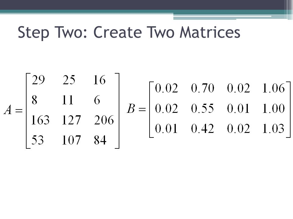 Step Three: Multiply Matrices Step Four: Analyze Results Homework.