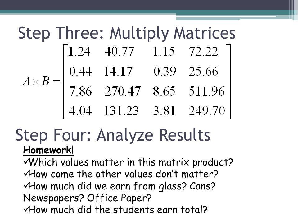 Step Three: Multiply Matrices Step Four: Analyze Results Homework.
