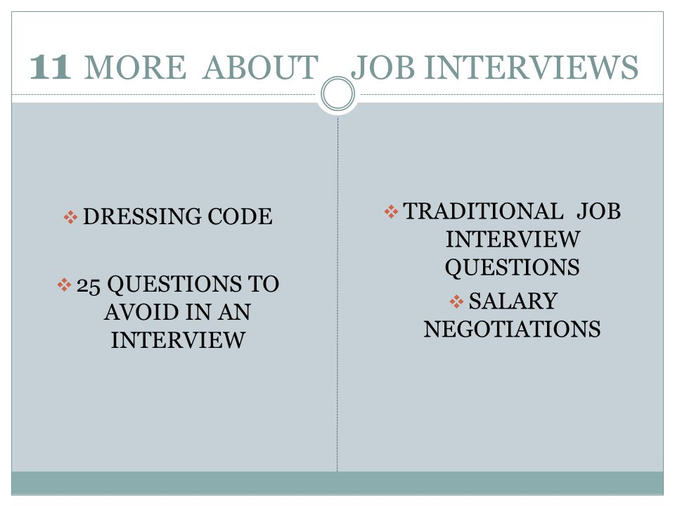 11 MORE ABOUT JOB INTERVIEWS DRESSING CODE 25 QUESTIONS TO AVOID IN AN INTERVIEW TRADITIONAL JOB INTERVIEW QUESTIONS SALARY NEGOTIATIONS