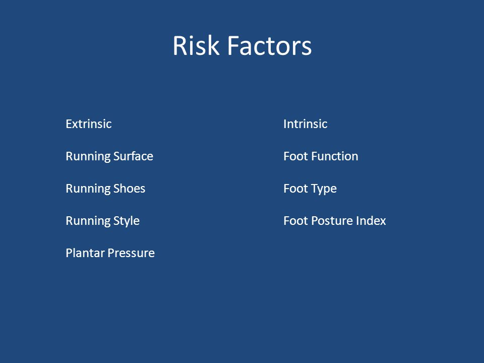 Risk Factors ExtrinsicIntrinsic Running SurfaceFoot Function Running ShoesFoot Type Running StyleFoot Posture Index Plantar Pressure