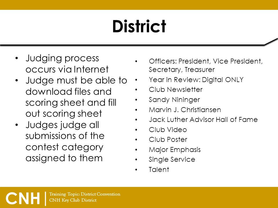 Training Topic: District Convention CNH Key Club District CNH | Officers: President, Vice President, Secretary, Treasurer Year in Review: Digital ONLY