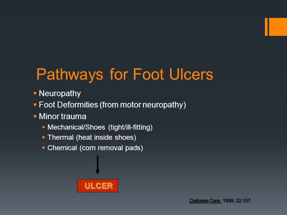 Pathways for Foot Ulcers Neuropathy Foot Deformities (from motor neuropathy) Minor trauma Mechanical/Shoes (tight/ill-fitting) Thermal (heat inside sh
