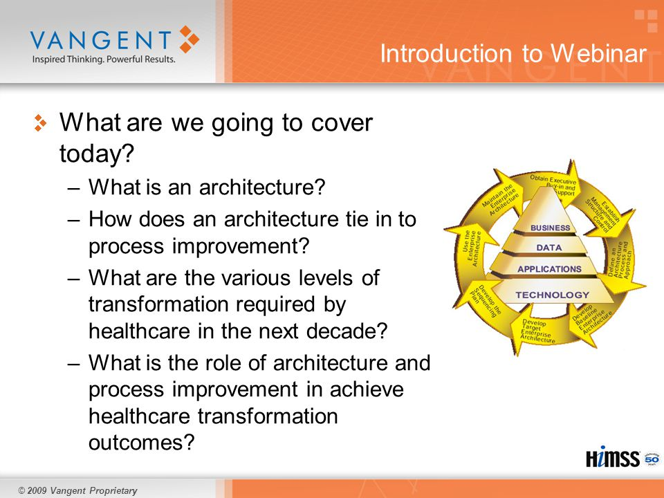 © 2009 Vangent Proprietary Common enterprise architecture development problems Not tying it to the organizational strategy or processes Focusing on details in areas that are not important Failing to represent it properly in a way people can understand Keeping it up to date Here is an example - Medicaid