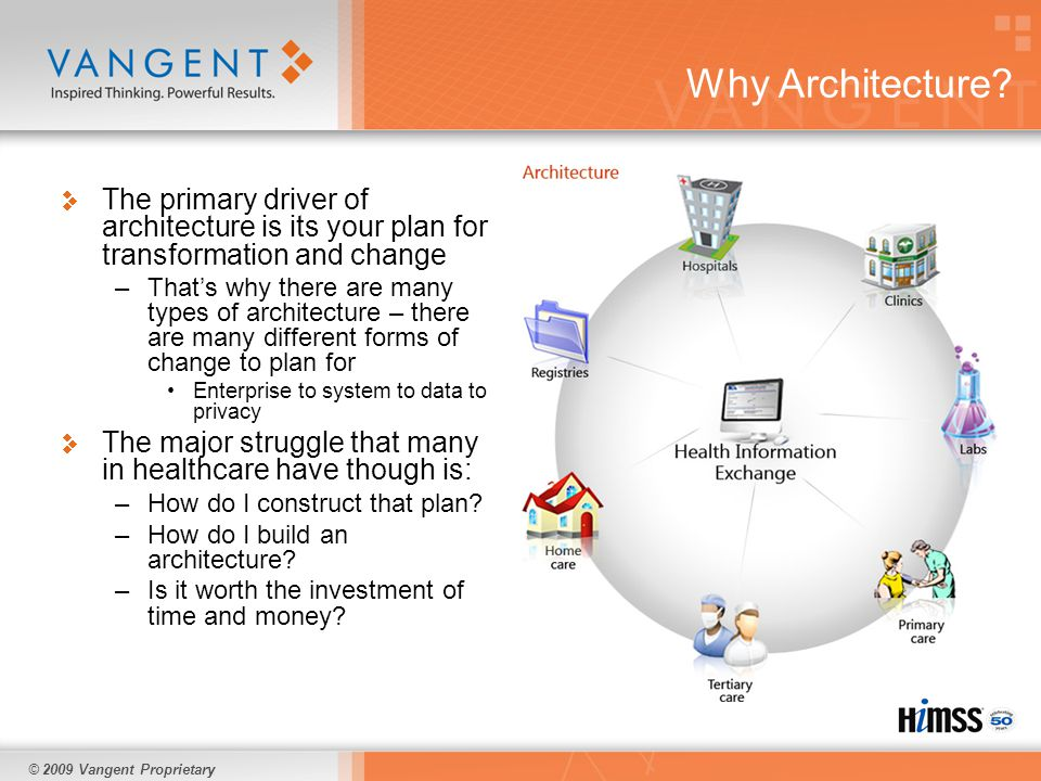 © 2009 Vangent Proprietary The importance of architecture and process improvement Many areas of healthcare are in need of transformation –There are different types of transformation needed Meaningful Use Healthcare Reform regulations Payment and Administrative CPOE and e-Prescribing There are significant concerns about how to achieve this transformation –Will implementing an EHR inhibit current processes.