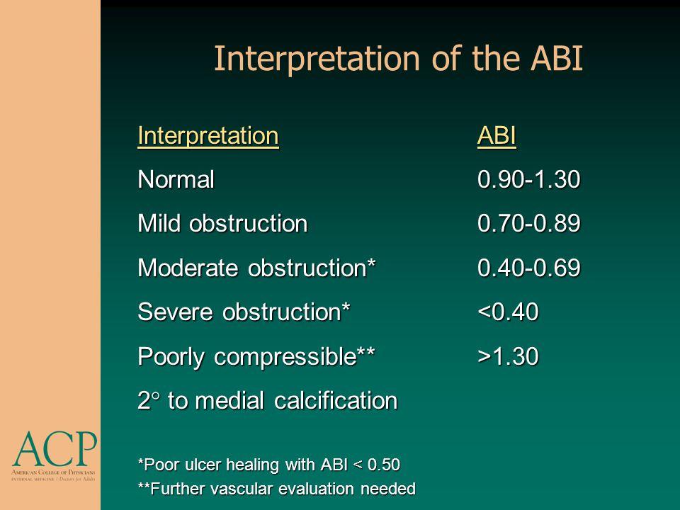 Interpretation of the ABI InterpretationABI Normal0.90-1.30 Mild obstruction0.70-0.89 Moderate obstruction*0.40-0.69 Severe obstruction*<0.40 Poorly c