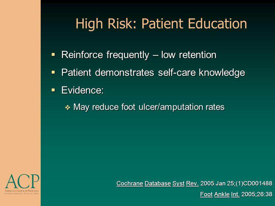 High Risk: Patient Education Reinforce frequently – low retention Reinforce frequently – low retention Patient demonstrates self-care knowledge Patien