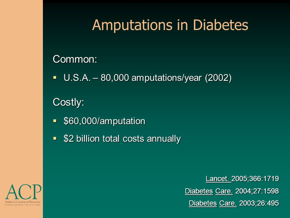 Amputations in Diabetes Common: U.S.A. – 80,000 amputations/year (2002) U.S.A. – 80,000 amputations/year (2002)Costly: $60,000/amputation $60,000/ampu