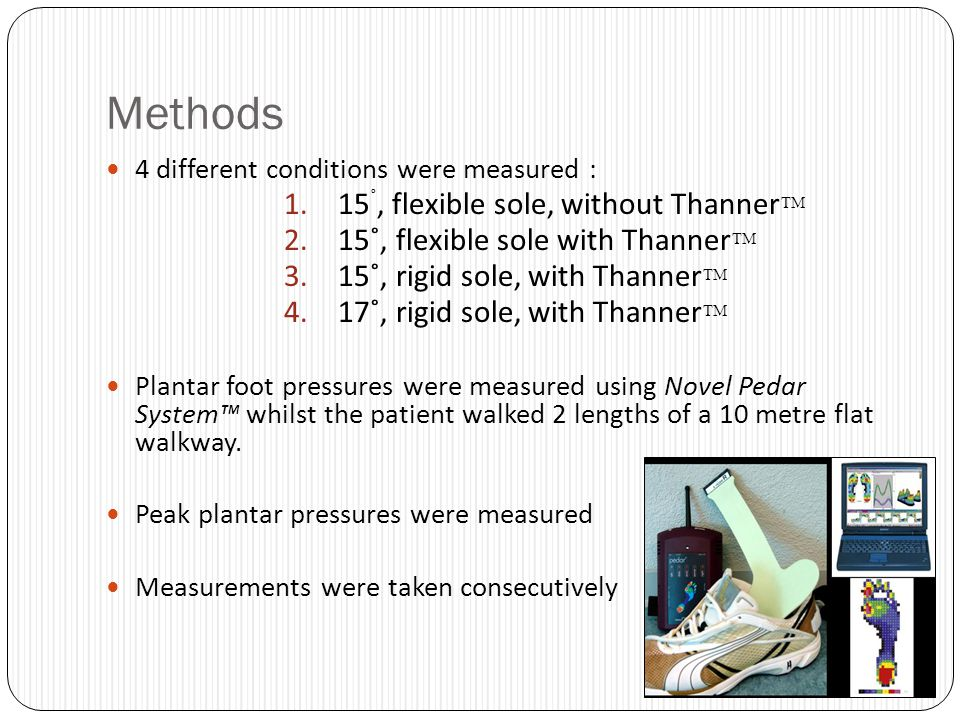 Methods 4 different conditions were measured : 1.15 ˚, flexible sole, without Thanner 2.15˚, flexible sole with Thanner 3.15˚, rigid sole, with Thanne